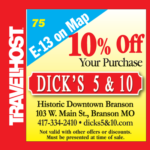 dicks 5 and 10 coupon branson